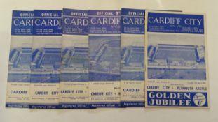 FOOTBALL, Cardiff City home programmes, inc. 1959/60 (13), 1960/1 (5), 1961/2 (6), 1963/4 (3),