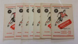 FOOTBALL, Brentford home programmes, inc. 1952/3 (2), 1953/4 (2), 1954/5 (5) & 1955/6 (4), writing
