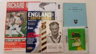 CRICKET, selection, inc. England v South Africa 2017 (programme, ticket, partially printed scorecard