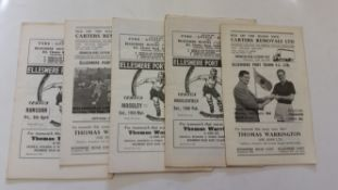 FOOTBALL, Ellesmere Port Town programmes, home (40) & away, 1960s, a few with writing to cover, FR