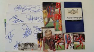 FOOTBALL, Crystal Palace, signed selection, inc. album pages, trade cards, magazine photos etc.,