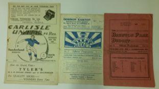 FOOTBALL, programme, Carlisle United reserve programmes, v Sunderland, 1947/8, 1948/9 & 1951/2, G to