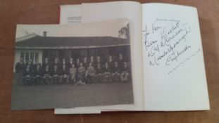 FOOTBALL, England selection, inc. b/w photo, team and officials outside their hotel before match v