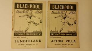 FOOTBALL, programme, Blackpool home programmes, 1948/9, v Aston Villa, Huddersfield & Sunderland (