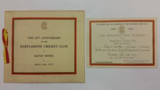CRICKET, selection from MCC 150th Anniversary dinner, 15th July 1937, menu booklet, invitation &