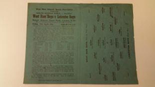 FOOTBALL, programme, West Ham Boys v Leicester Boys, 19th April 1946, England Schools Shield semi-