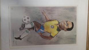 FOOTBALL, colour print, Heroes of Sport, Pele (Brazil), issued by Venorlandus, artwork by Tim