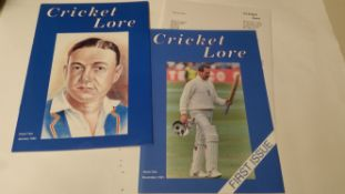 CRICKET, magazines, Cricket Lore, Vol 1 Nos. 1-10, with subscription letters (6), EX, 10+