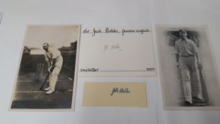 CRICKET, signed piece & white card by Jack Hobbs, with two postcards, VG, 4