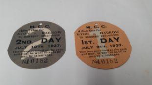 CRICKET, admission tickets for Eton v Harrow, 9th & 10th July 1937, VG, 2