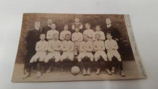 FOOTBALL, postcard, RP, showing Blackpool P.O. FC, Schools League Champions (n.y.), c.1900, G