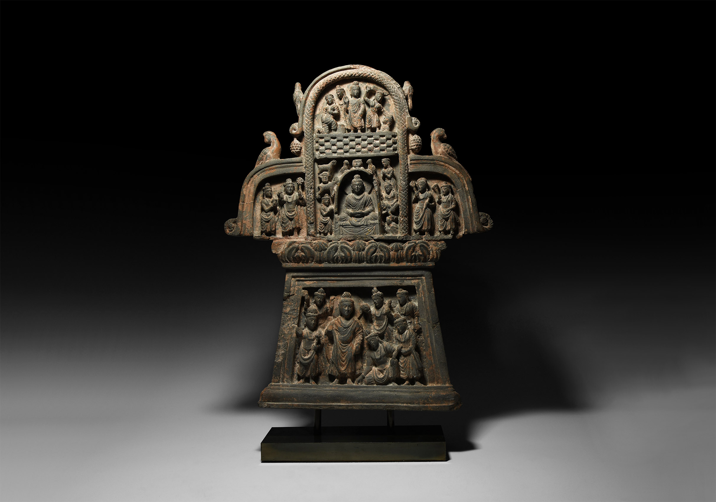Lot 371 - Gandharan Frieze Panel with Buddha and Attendants