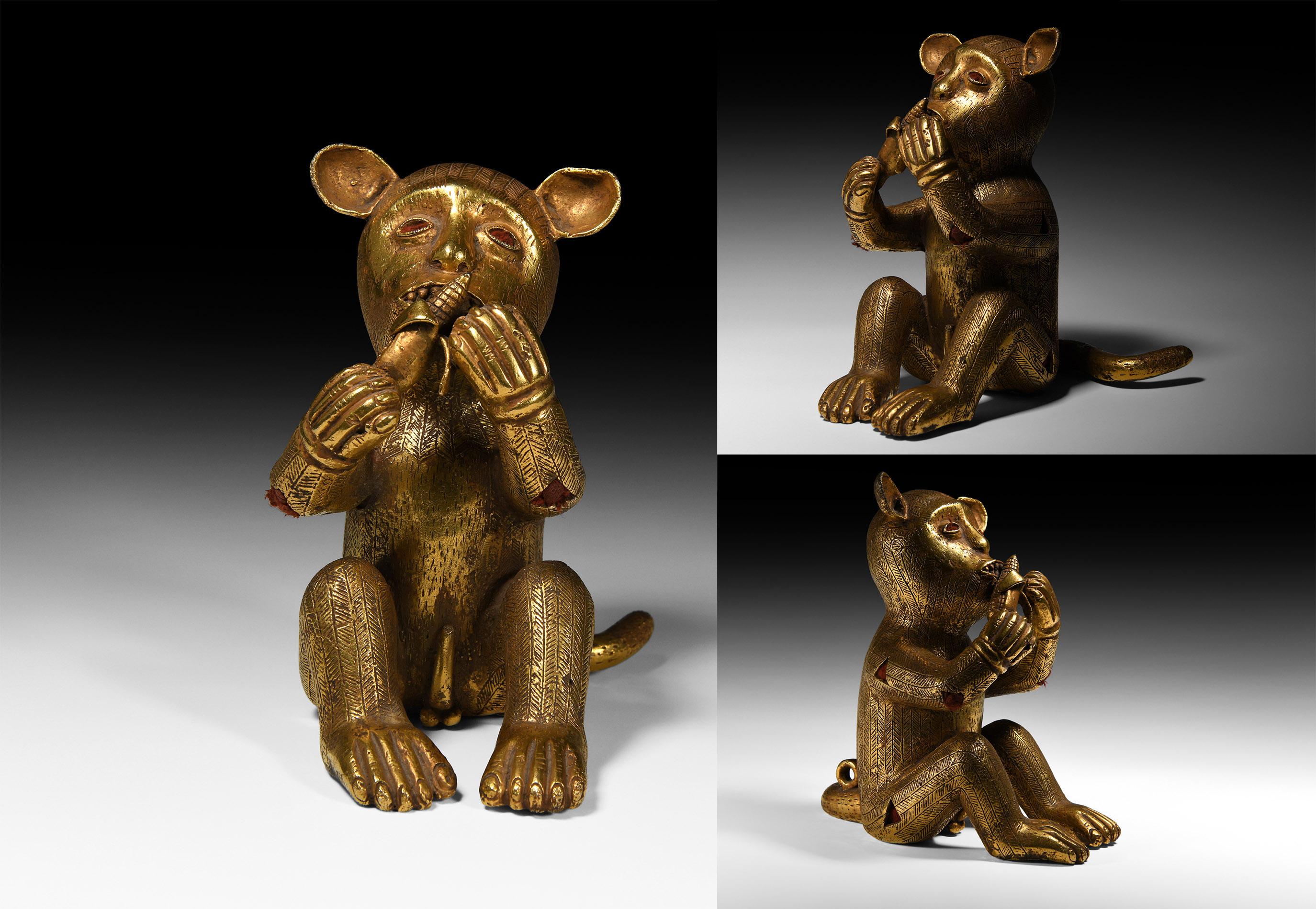 Lot 550 - Asante Gilt Seated Baboon Sword Ornament
