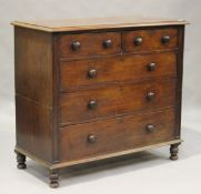 A late Victorian mahogany chest of two short and three long drawers, height 108cm, width 119cm,