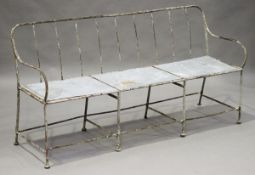 A late 19th/early 20th century French painted wrought iron garden bench, the seat inset with sheet