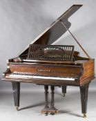 A late 19th century rosewood cased boudoir grand piano by C. Bechstein, Berlin, overstrung, serial