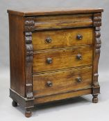 A late Victorian walnut chest of four drawers with foliate carved pilasters, height 126cm, width