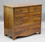 A George IV mahogany chest of drawers, on bracket feet, height 93cm, width 104cm, depth 53.5cm.