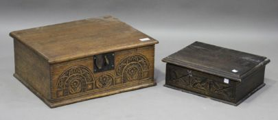 A 20th century Carolean Revival oak bible box, the front carved with arches, width 48cm, together