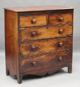 A mid-Victorian mahogany chest of two short and three long drawers, on bracket feet, height 115cm,