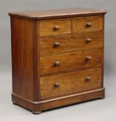 A Victorian mahogany chest of two short and two long mahogany-lined drawers, height 105cm, width