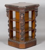 A fine Victorian burr walnut four-sided library bookcase, probably by Gillows of Lancaster,