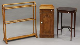 A Victorian satin walnut towel rail, height 87cm, width 76cm, together with a Victorian mahogany