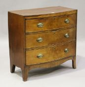 A George IV mahogany bowfront chest of three drawers, height 86cm, width 88cm, depth 46cm (some