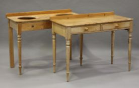 A Victorian pine side table, fitted with two drawers, height 81cm, width 106cm, depth 51cm, together