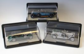 Three Franklin Mint diecast model cars, comprising a 1907 Rolls-Royce 'The Silver Cloud', a 1929