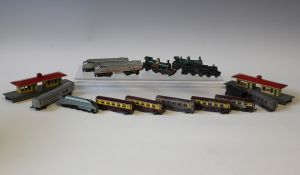 A collection of Lone Star gauge OOO diecast locomotives, coaches, goods rolling stock, track and