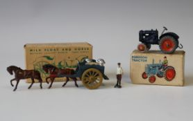 A Britains Lilliput World LV/604 Fordson tractor and an LV/605 milk float and horse, both boxed (