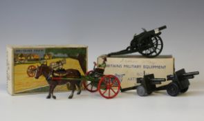 A Britains Farm No. 8F horse rake and a Britains Military Equipment No. 1201 Royal Artillery gun,