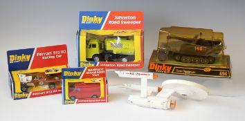 Four Dinky Toys vehicles, comprising a No. 226 Ferrari 312/82 racing car, a No. 410 Bedford Royal