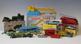 A small collection of Dinky Toys and Supertoys vehicles and accessories, including a No. 277