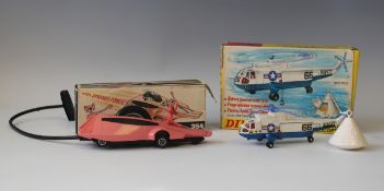 A Dinky Toys No. 354 Pink Panther car, with Pink Panther figure and pull cord, and a No. 724 Sea
