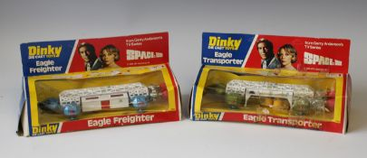 A Dinky Toys No. 359 Space 1999 Eagle Transporter and a No. 360 Eagle Freighter, both within