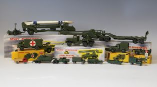 A small collection of Dinky Toys and Supertoys army vehicles, comprising a No. 660 tank transporter,