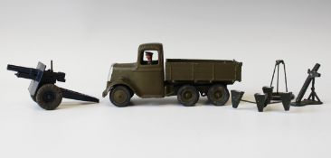 A Britains No. 1335 six wheel army lorry with driver, a No. 1638 sound locator and a field gun (some