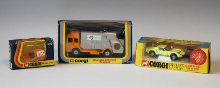 A Corgi Toys No. 342 Lamborghini P400 GT Miura, a Corgi No. 389 Bond Bug and a No. 1116 Shelvoke &