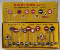 A Dinky Toys No. 771 international road signs set, boxed (playwear and paint chips, box and lid