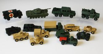 A collection of repainted Dinky Toys and Supertoys army and civilian vehicles, including a No.