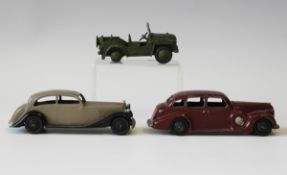 A post-war Dinky Toys No. 30b Rolls-Royce, a No. 39d Buick and a No. 674 Austin Champ (some playwear