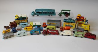 A collection of Matchbox 1-75 vehicles, including a No. 21 bottle float, a No. 23 mobile compressor,