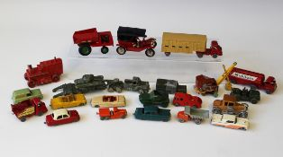 A collection of Matchbox 1-75 military vehicles, cars and commercial vehicles, including a No. 4