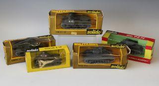 Five Solido tanks, comprising a No. 234 Somua S35, two No. 237 Char PZ IV, a No. 252 Char M 7 US and