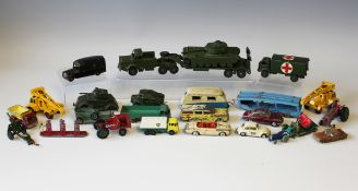 A small collection of Dinky Toys and Supertoys army vehicles, including a No. 651 Centurion tank and