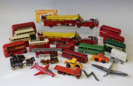 A collection of diecast vehicles, including five Dinky Toys double deck buses, two Corgi Major