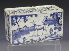 An English Delft flower brick, circa 1740, painted in blue with a stag in a chinoiserie landscape to