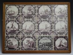 A group of twelve Dutch Delft tiles, early 19th century, each painted in manganese with a